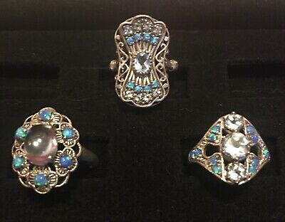 $ CDN65.73 • Buy Exquisite Lot Of 3 Sterling Silver Aquamarine & Opal Rings