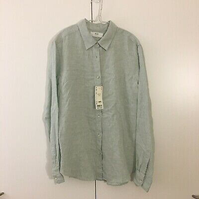 AU21.98 • Buy NEW W Tags UNIQLO Premium Linen Shirt S Womens Top Unisex Buttoned Shirt