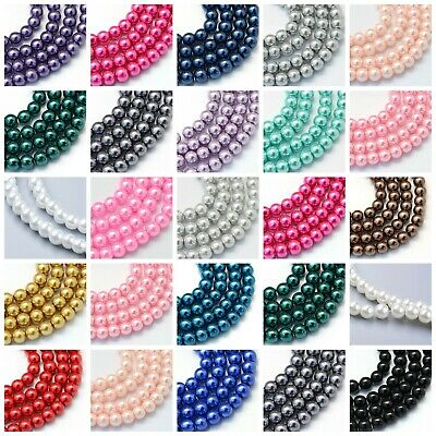 Glass Pearl Beads - 1 Strand -100 X 6mm Or 50 X 8mm BUY 4 GET 4 FREE  • 1.99£