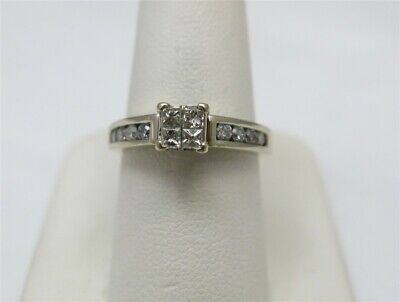 $299 • Buy 14K White Gold ~5/8CTW Diamond Invisible Set Center Channel Ring Size 7