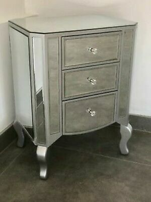 Contemporary Modern Mirrored Venetian Bedside Cabinet With Silver Trim • 149.95£
