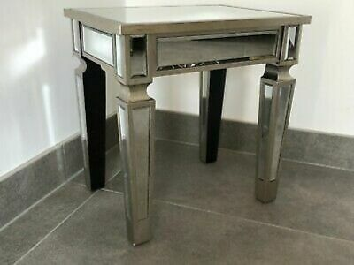 Mirrored Venetian Lamp Table End Table Champagne Silver Finish Living Room • 69.99£