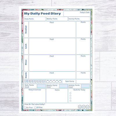 A5 Weight Watchers Ww Compatible Food Diary Pages Diet Planner Weight Loss • 4.99£