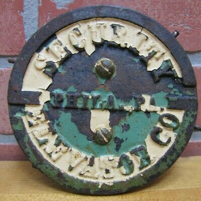 $195 • Buy SECURITY ELEVATOR PHILA PA Old Cast Iron Plaque Sign Architectural Hardware Ad