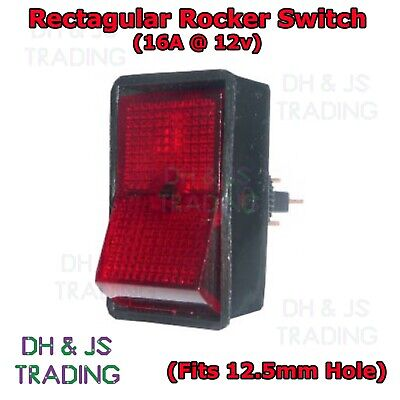 Red Illuminated Rocker Switch 16a 12v On/Off Car Van Dash Marine Boat Quad • 1.95£