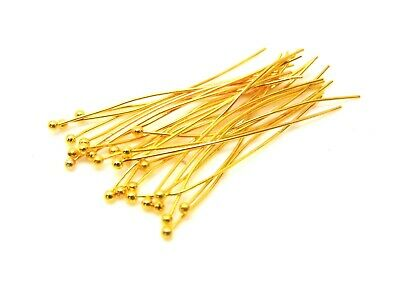 £2.95 • Buy 100 Pcs - 45mm Gold Plated Ball Head Pins Jewellery Craft Findings Beading B77