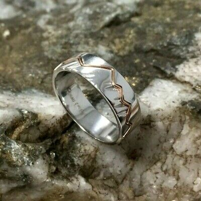 Official Welsh Clogau Silver & Rose Gold Cynefin Ring SIZE P £60 OFF  • 69£