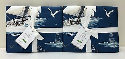 $91.99 • Buy NEW Pottery Barn Sailboat Reversible Quilted Nautical EURO Shams~SET OF 2~Blue