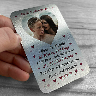 1st 10th 20th Anniversary Gift For Husband Wife Personalised Wallet Card Insert • 6.99£