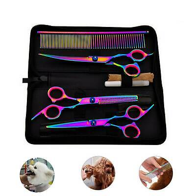7'' Pet Hair Scissors Tool Grooming Cutting Thinning Curved Shears Comb Kit UK • 13.59£
