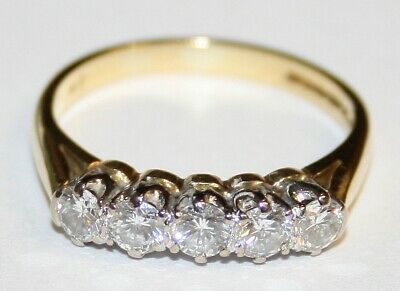 Traditional Nice Quality 18ct Gold 5 Stone Diamond Ring 0.68cts Size N G/SI2 • 699£