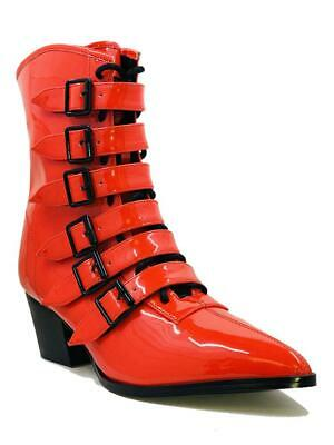 AU179.49 • Buy Strange Cvlt Cult YRU Coven Red Witch Buckles Punk Goth Granny Boots Heels Shoes