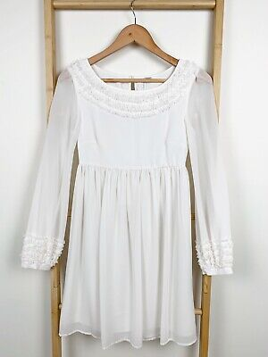 AU29.95 • Buy Forever New Ivory White Sheer Long Sleeve Boho Babydoll Dress | Size 6