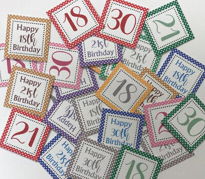 25 Small Square 3cm Sentiments 18th/21st/30th Birthday Hand Made Card Toppers • 1.79£