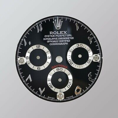 $ CDN521.97 • Buy Black Diamond Dial For Rolex Daytona Arabic Numerals 116520, 116500,... (4130)