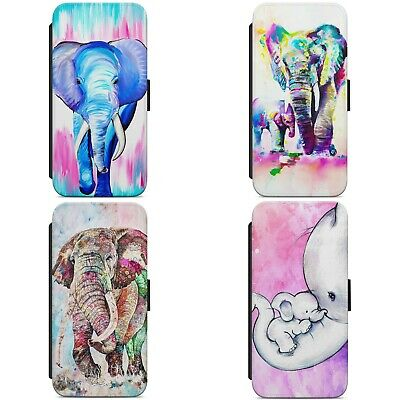 £8.99 • Buy Painted Colourful Elephant WALLET FLIP PHONE CASE COVER FOR IPHONE SAMSUNG