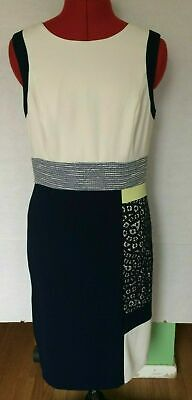 $ CDN12.65 • Buy Ivanka Trump Shift Dress Womens Size 8 Off White Navy Blue Sleeveless Lace R