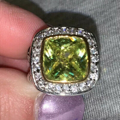 $ CDN28.93 • Buy Lia Sophia Light Green Square Ring Size 7 Double Twisted Band GORGEOUS Gold Trim