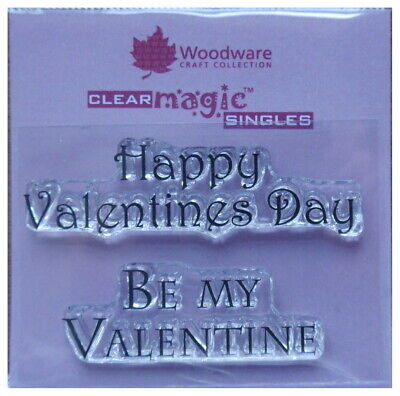 Woodware Clear Acrylic Stamp Set HAPPY VALENTINES DAY   Set Of 2 • 2.29£
