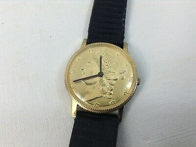 $25 • Buy HAFNER Watch Co Liberty Gold Coin Vintage Senior SWISS MOVT Lizard Leather Band