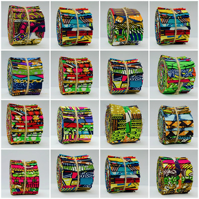 10-40 African Wax Print Cotton Jelly Roll Fabric Strips Quilting Patchwork Craft • 12.45£
