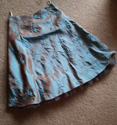 Bohemia Teal Taffetta Net Skirt Size L 12 To 14 1950s A Line Embroidered Floral • 12£