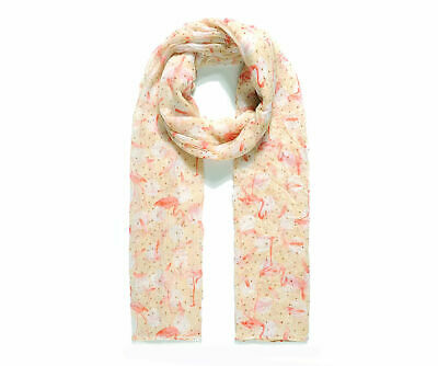 £8.95 • Buy Ladies Women Flamingo And Feather Caramel Pink Lightweight Spring Fashion Scarf
