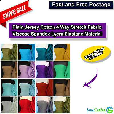 Plain Jersey Cotton 4 Way Stretch Fabric Viscose Spandex Lycra Elastane Material • 4.89£