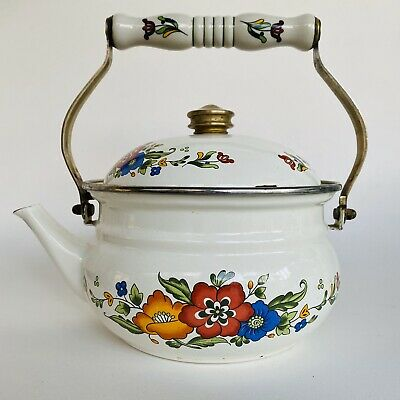 $24.99 • Buy Vintage Metal Enamel Floral Teapot Tea Kettle With Ceramic Porcelain Handle