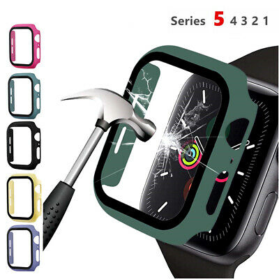 $ CDN4.21 • Buy For Apple Watch Series 5 4 3 2 1 Hard Bumper Case Cover Tempered Glass 40mm/44mm