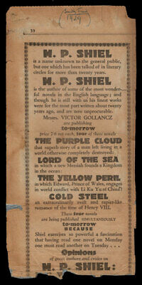 $90 • Buy M P Shiel / Advertising For The 1929 Gollancz Re-issues Of The Purple Cloud