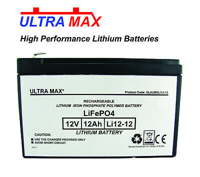 Ultramax 12v 12Ah Lithium Iron Phosphate Ultra Light, High Performance Battery • 89.20£
