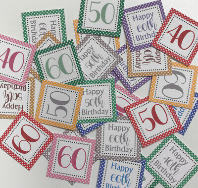 25 Small Square 3cm Sentiments 40th/50th/60th Birthday Hand Made Card Toppers • 1.79£