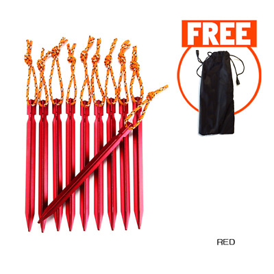AU12.95 • Buy 18CM 10PCS Aluminum Stakes Pegs Nail For Tent Free Bag Outdoor Camping Pins