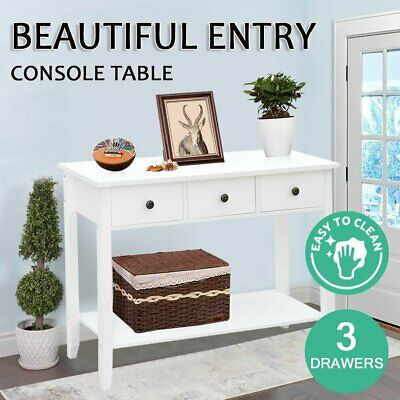 AU104 • Buy Hallway Console Table Hall Side Entry 3 Drawers Display French Desk White