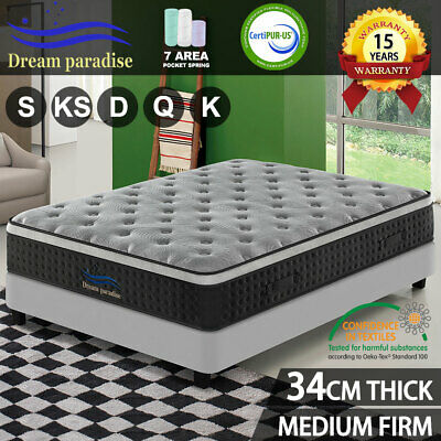AU246.05 • Buy QUEEN DOUBLE KING SINGLE Mattress Bed Euro Top Spring Foam Medium Firm