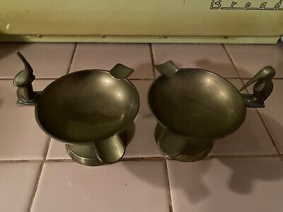 """£7.32 • Buy 2 Vintage Solid Brass Ashtrays 3"""" Tall With Bird And With Elephant Matching"""