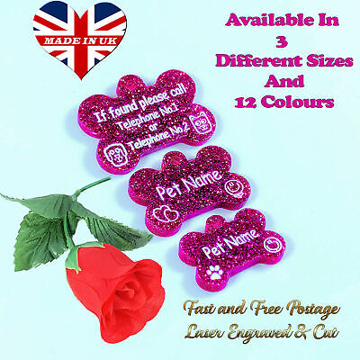 £2.99 • Buy Bone Shape / Dog / Cat / Pet Id Tags / Name Tags, 3 Different Sizes & 12 Colours