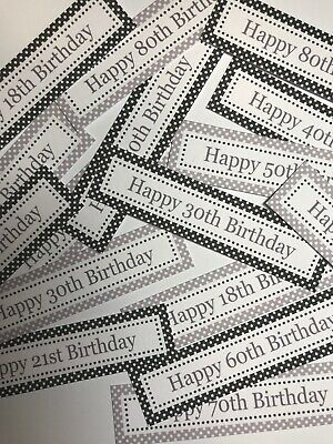 12 X Birthday 18th-80th - MONOCHROME Sentiments/Banners Hand Made Card Toppers • 0.99£
