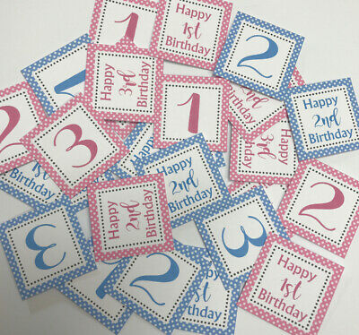 25 Small Square 3cm Sentiments 1st/2nd/3rd Birthday - Hand Made Card Toppers • 1.79£
