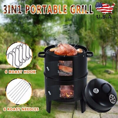 $62.98 • Buy 3 In 1 Charcoal Vertical Smoker Grill BBQ Roaster Steel Barbecue Cooker Outdoor
