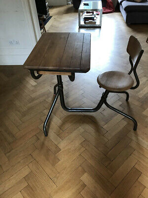 Mid 20th C French Vintage Industrial School Desk & Chair Unit Jean Prouve Style • 50£