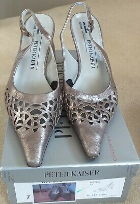 Peter Kaiser UK Size 7/40 Topeka Sling Back Shoes Pewter In Box, Previously Worn • 6.50£