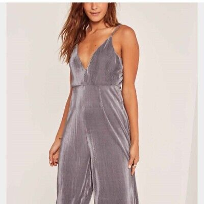 Missguided Silver Culotte Jumpsuit, Strappy, Size 8, V Neck • 2£