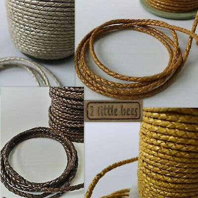 £3.50 • Buy Braided Leather Cord Genuine Brown Silver Gold Round Jewellery Bracelet Thong