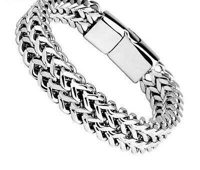 Men's Stainless Steel Link Chain Heavy Silver Bracelet For Men Biker Bicycle  • 14.99£