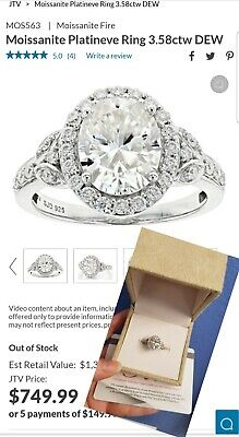 $550 • Buy Moissanite FIRE Charles Winston 3.58 Ctw Oval Ring Box Warranty Size 6