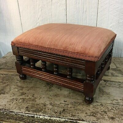$49.95 • Buy Antique Victorian Mahogany Wooden Foot Stool Spindles Upholstered Turned Sides