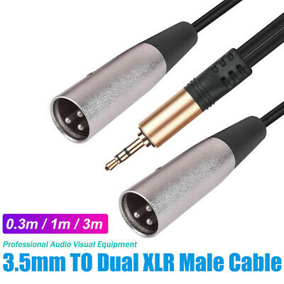 AU8.95 • Buy 3.5mm Male TRS Tip Ring Sleeve To 2 X Male XLR PA Loom Cable Lead Cord