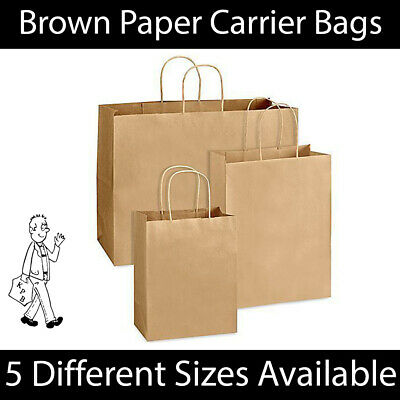 Brown Twist Handle Paper Party Gift Carrier Bag Boutique Bags STRONG Recyclable  • 6.99£